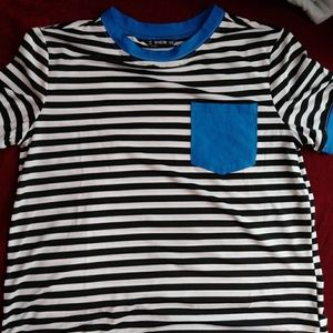 black and white striped t shirt with blue details